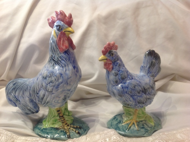STANGL ROOSTER AND HEN, RARE BLUE
