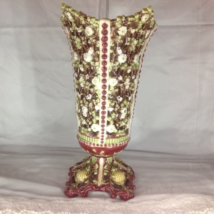 ANTIQUE MAJOLICA PIERCED VASE AUSTRIA
